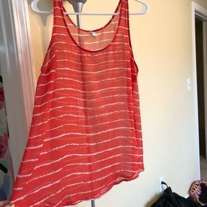 Red and white striped old navy tank top